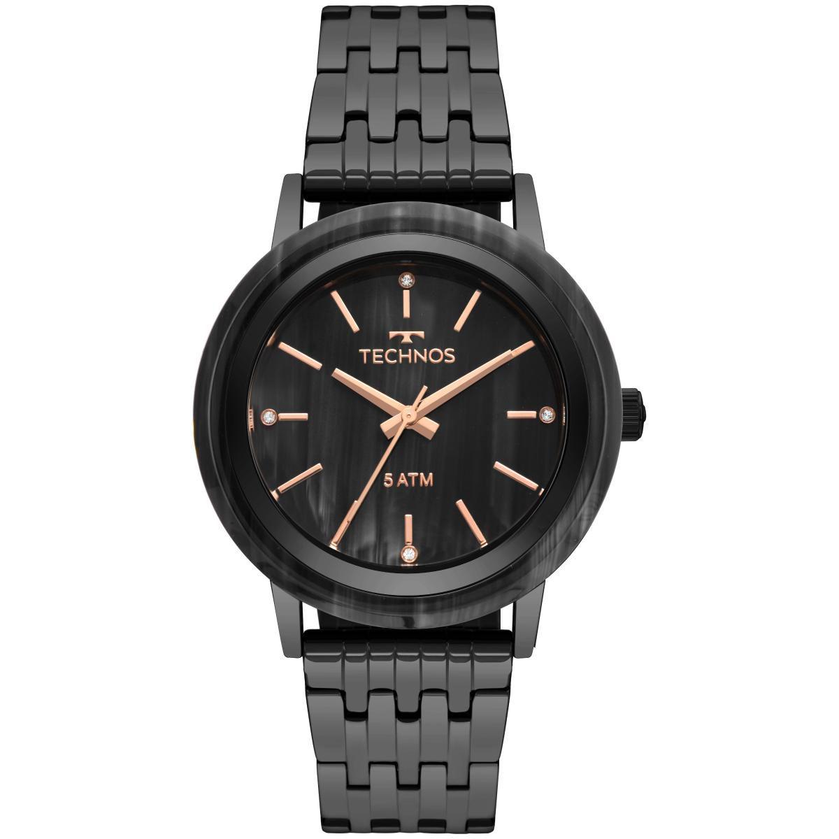 Relógio Feminino Technos Fashion Unique 203AAE/4P 40mm Aço Preto