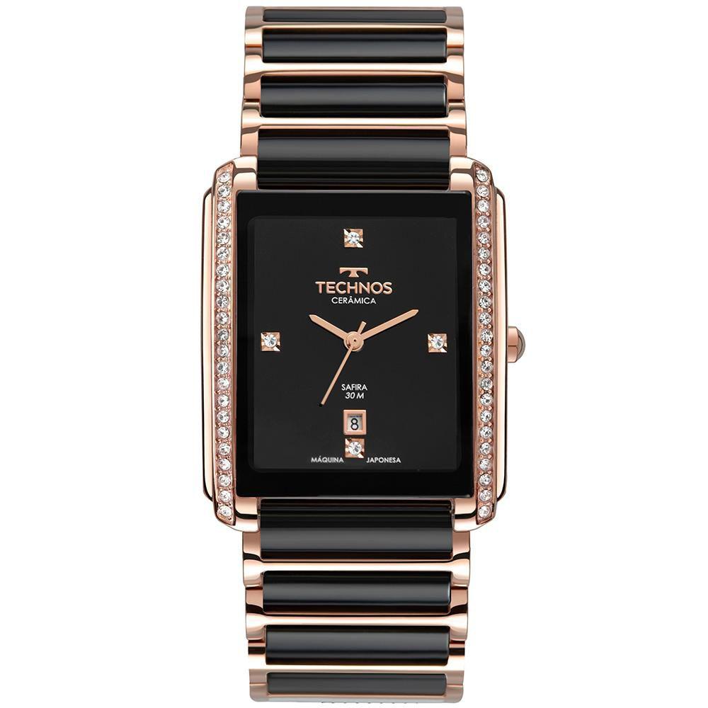Relógio Feminino Technos GN10AW/4P 30mm Cerâmica Preta