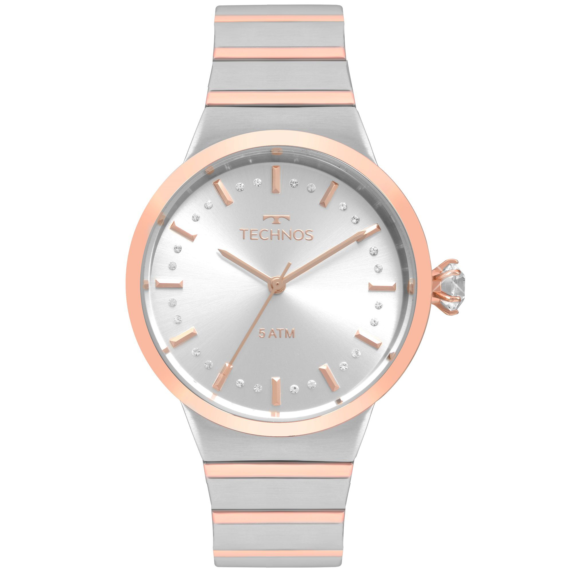 Relógio Feminino Technos Icon 2036MJV/5K 40mm Aço Bicolor Prata/Rosé