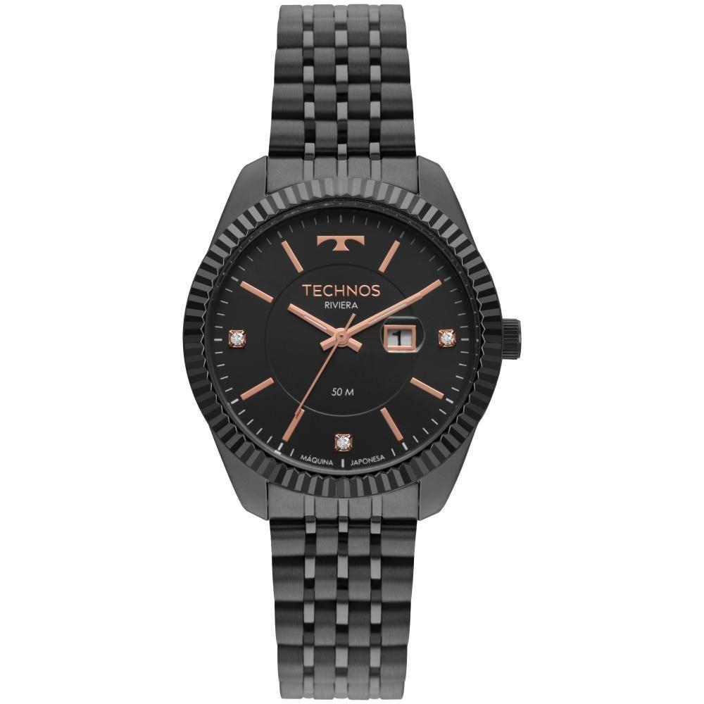 Relógio Feminino Technos Riviera 2015CCV/4P 37mm Aço Preto