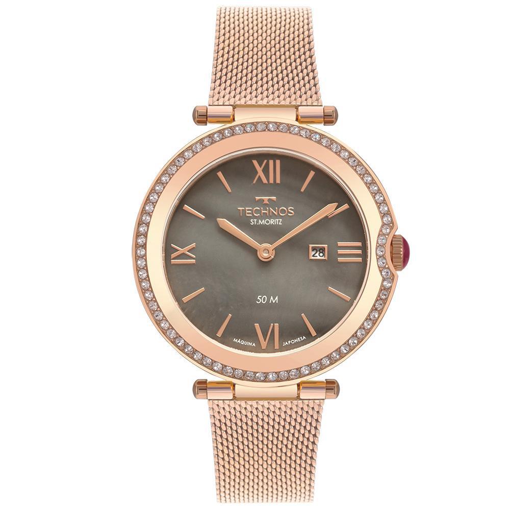 Relógio Feminino Technos St. Moritz GL15AX/1C 35mm Aço Rose