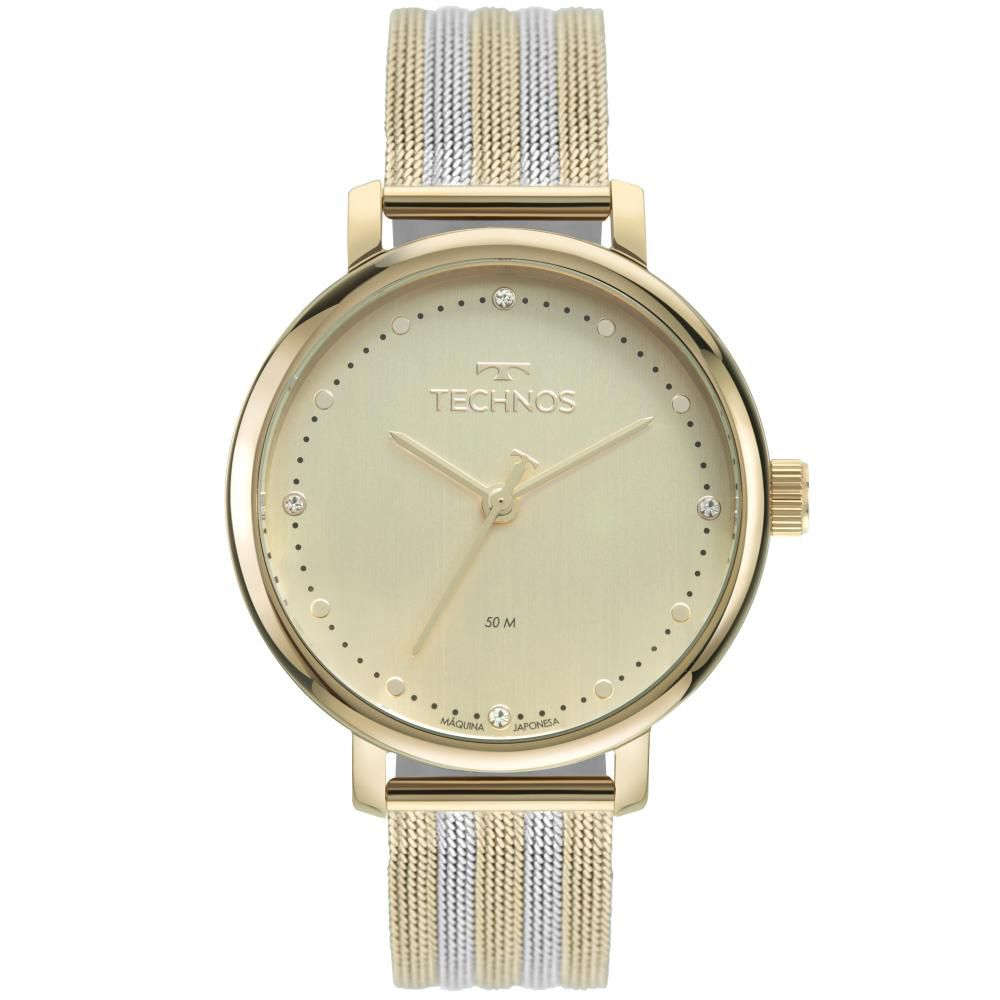 Relógio Feminino Technos Style 2035MSW/1X 38mm Aço Dourado/Prata