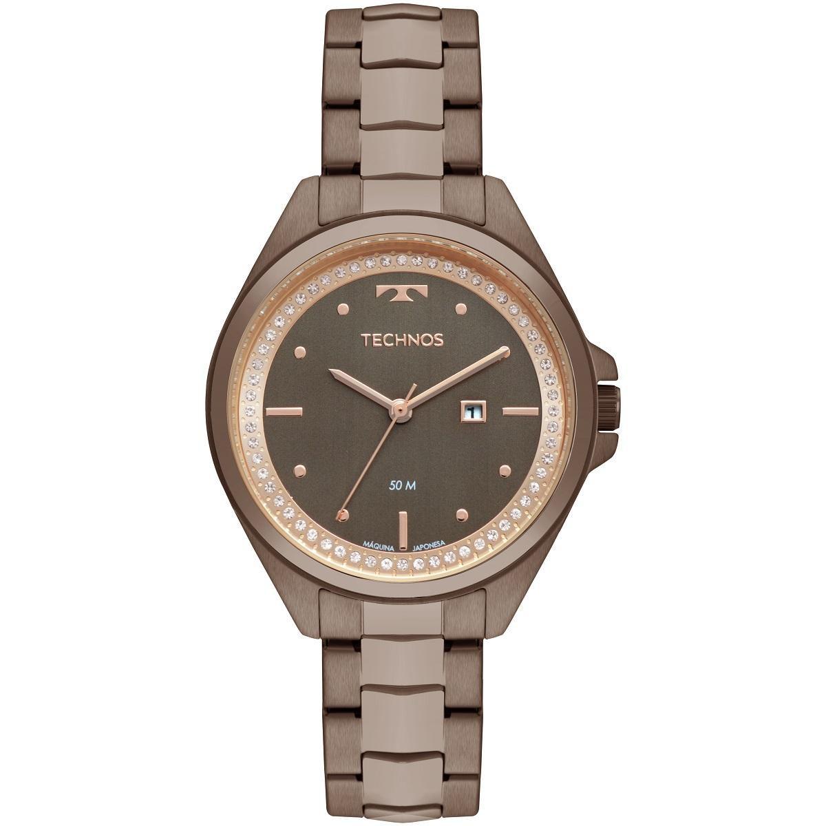 Relógio Feminino Technos Trend 2015CBY/4M 38mm Aço Marrom