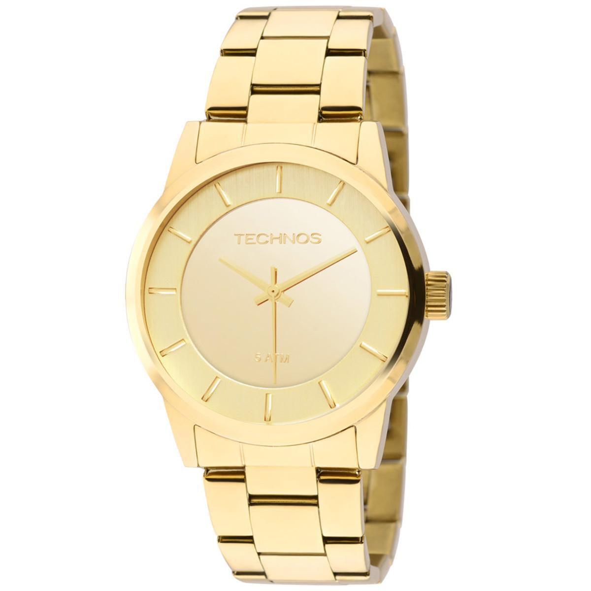 Relógio Feminino Technos Trend 2035LQA/4D 38mm Aço Dourado