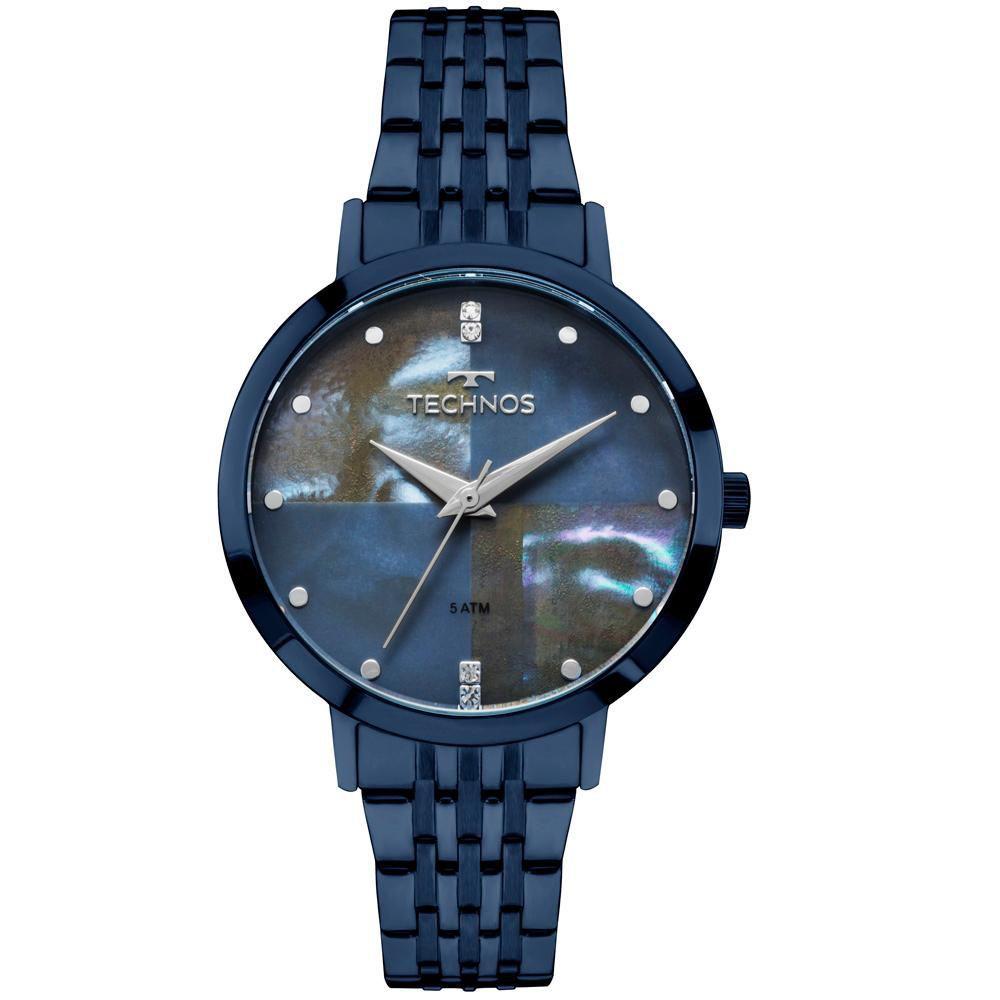 Relógio Feminino Technos Trend 2036MJH/5A 36mm Aço Azul