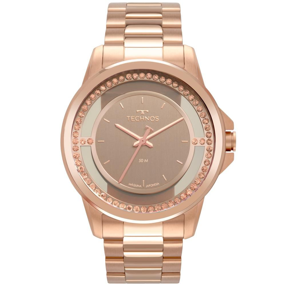 Relógio Feminino Technos Trend 2039CH/4J 40mm Aço Rose