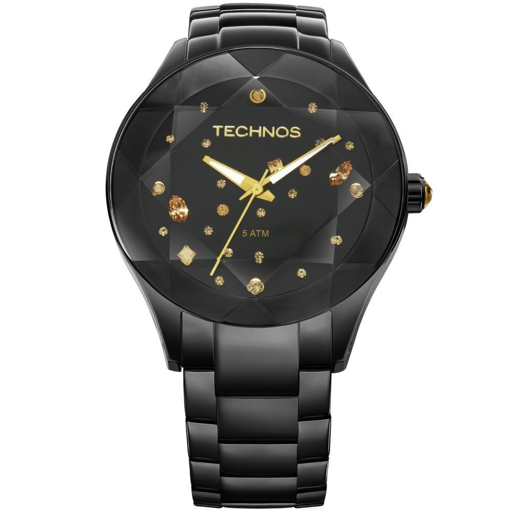 Relógio FemininoTechnos Elegance Crystal 2039AU/1P 41mm Aço Preto