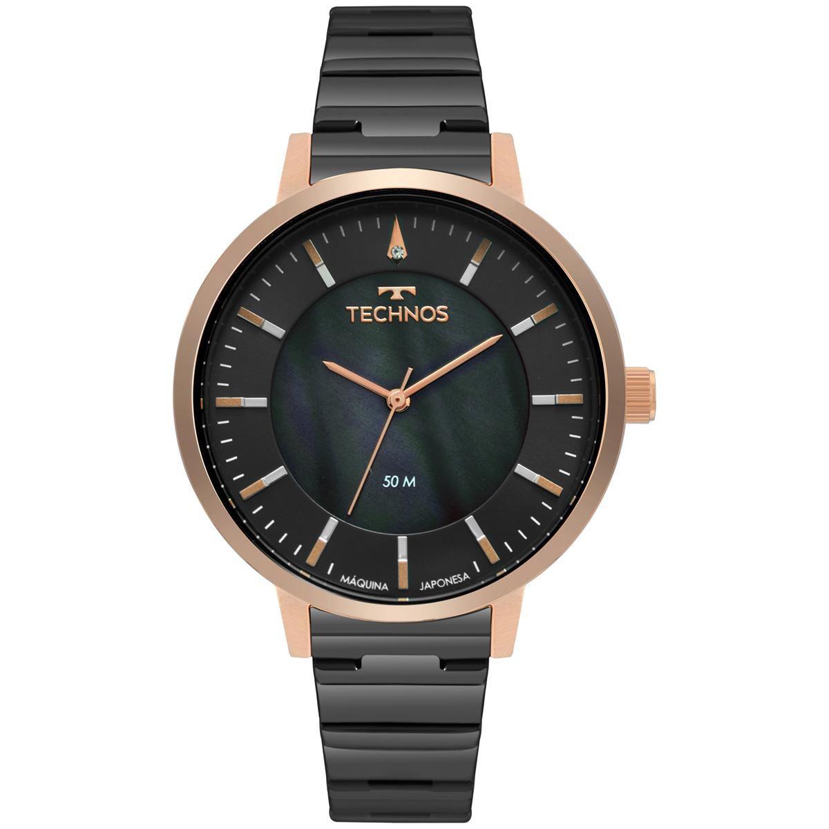 Relógio Feminno Technos Fashion Trend 2033CT/5C 40mm Aço Preto