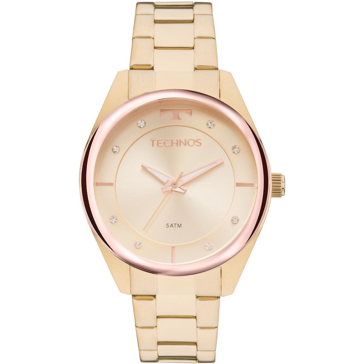 Relógio Feminno Technos Trend 2035MKW/4X Pulseira Aço Dourada