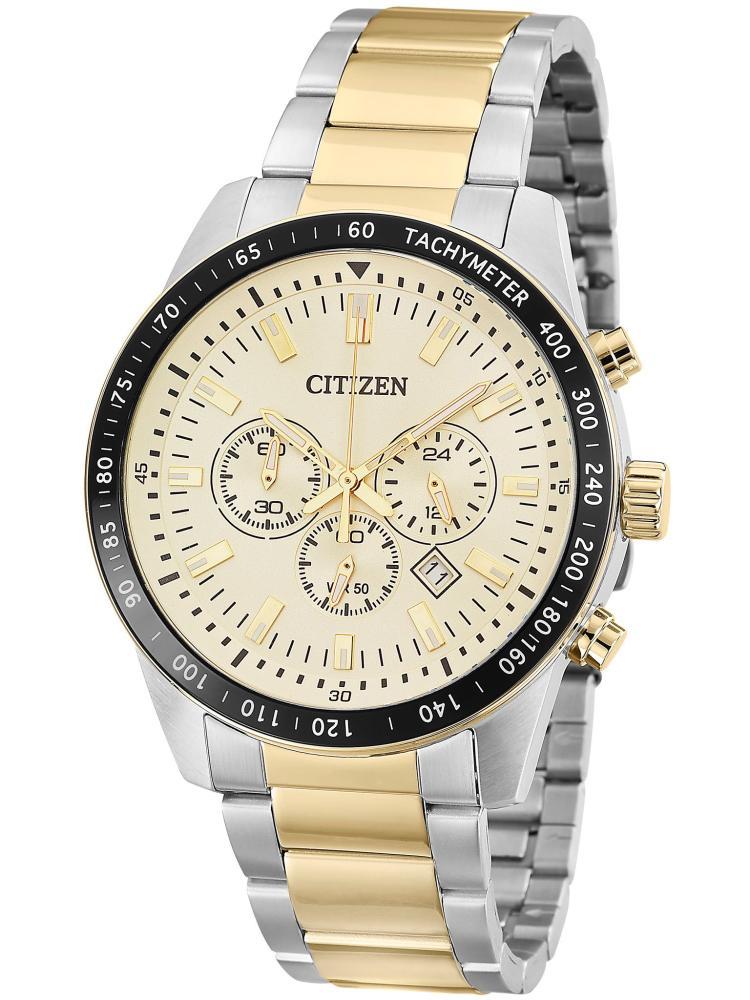 Relógio Masculino Citizen TZ30802E 44mm Aço Bicolor Prata/Dourado