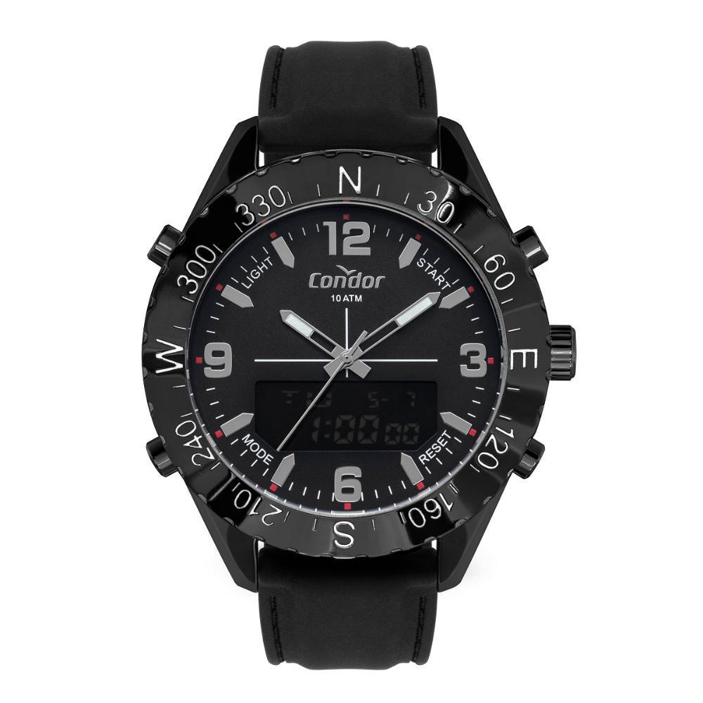 Relógio Masculino Condor Anadigi COBJ3689AA/2P 50mm Silicone Preto
