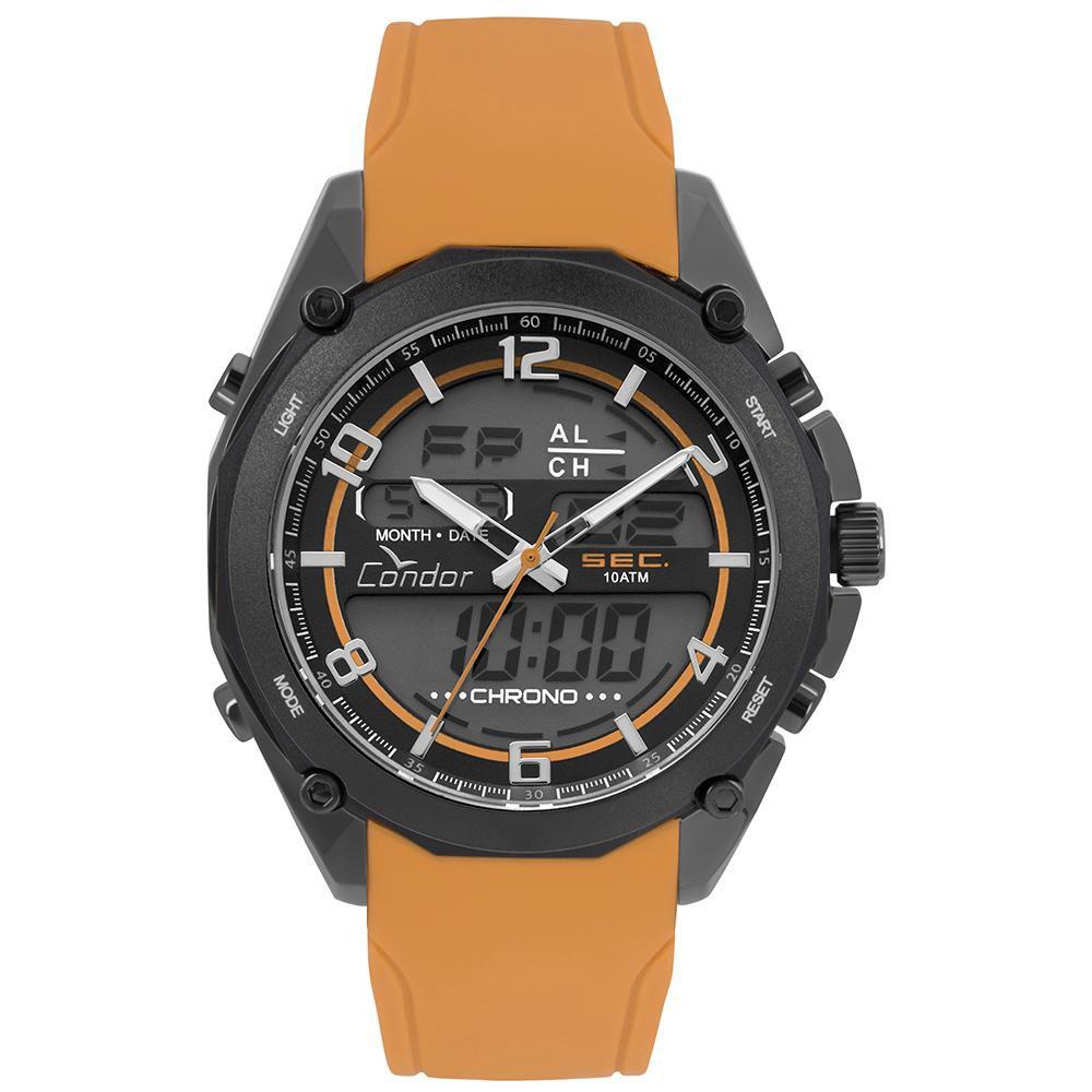 Relógio Masculino Condor Anadigi COY121E6AE/2P 44mm Silicone Laranja