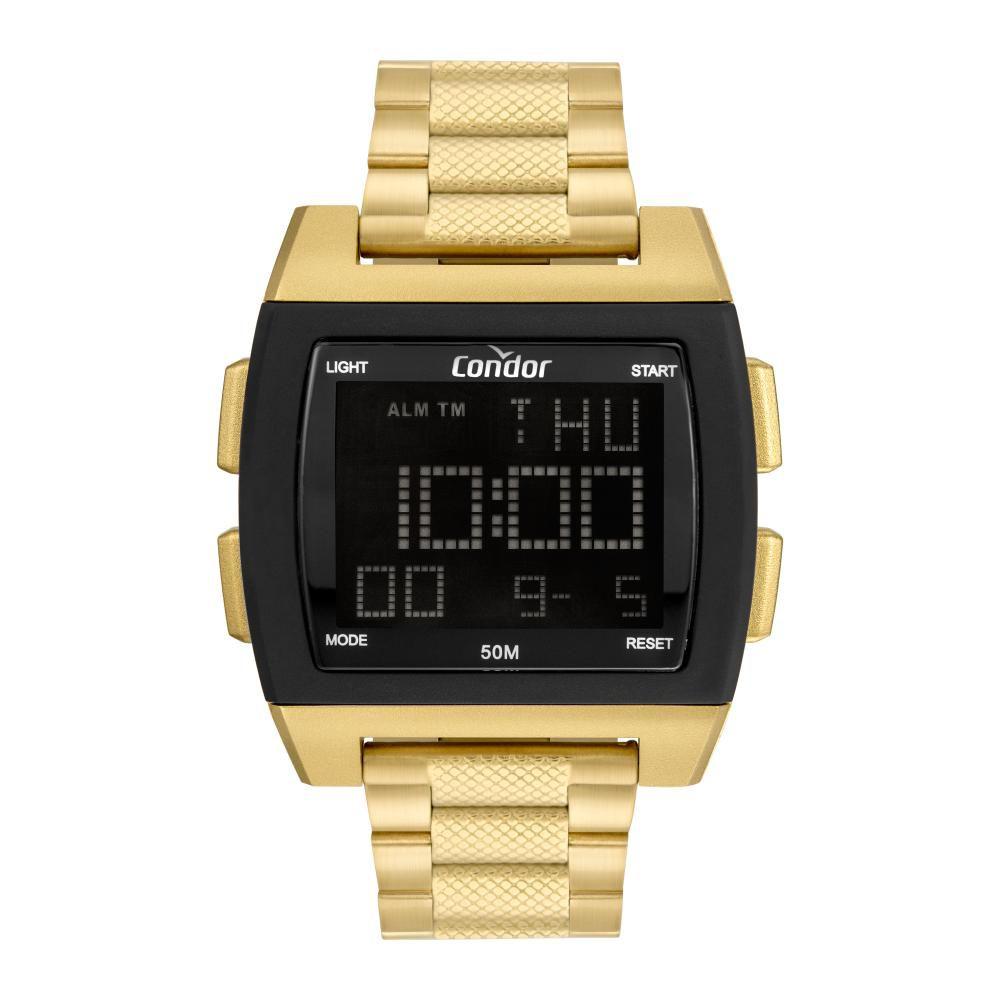 Relógio Masculino Condor Digital COBJ2649AH/8D 46mm Aço Dourado