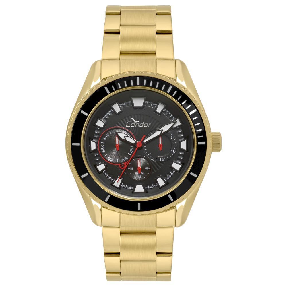 Relógio Masculino Condor Traveller CO6P29IN/4P 48mm Aço Dourado