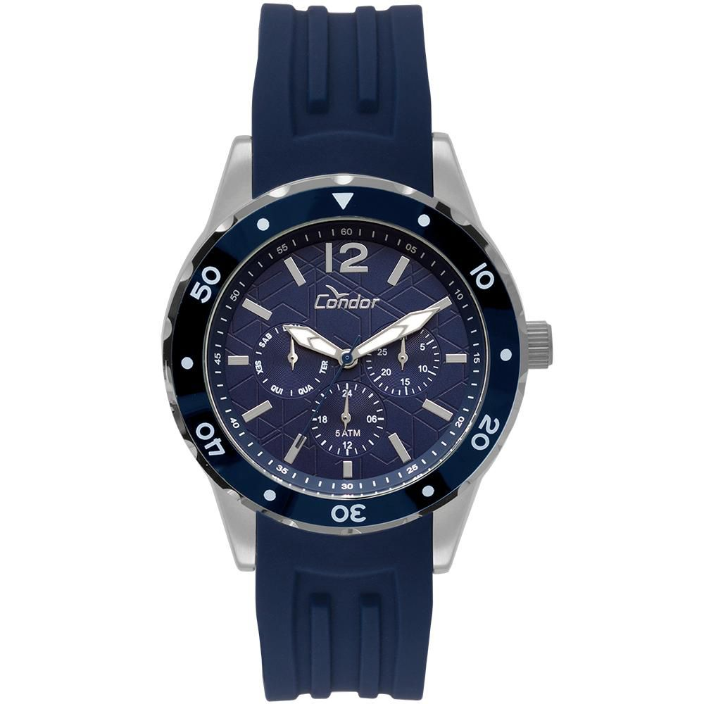 Relógio Masculino Condor Traveller CO6P29IS/3A 45mm Sillicone Azul