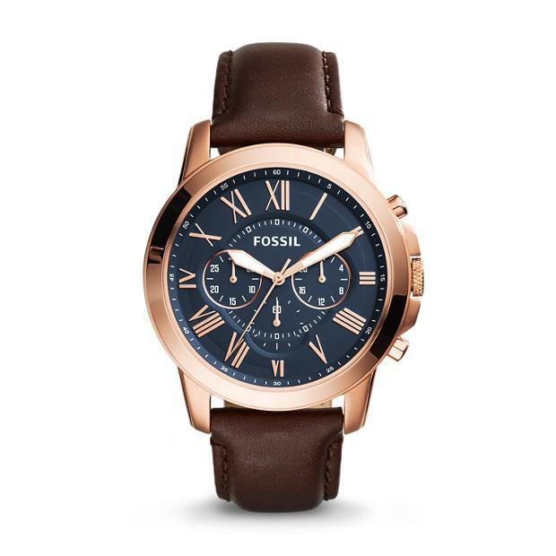 Relógio Masculino Fossil Cronograph FS5068/3AI 44mm Couro Marrom