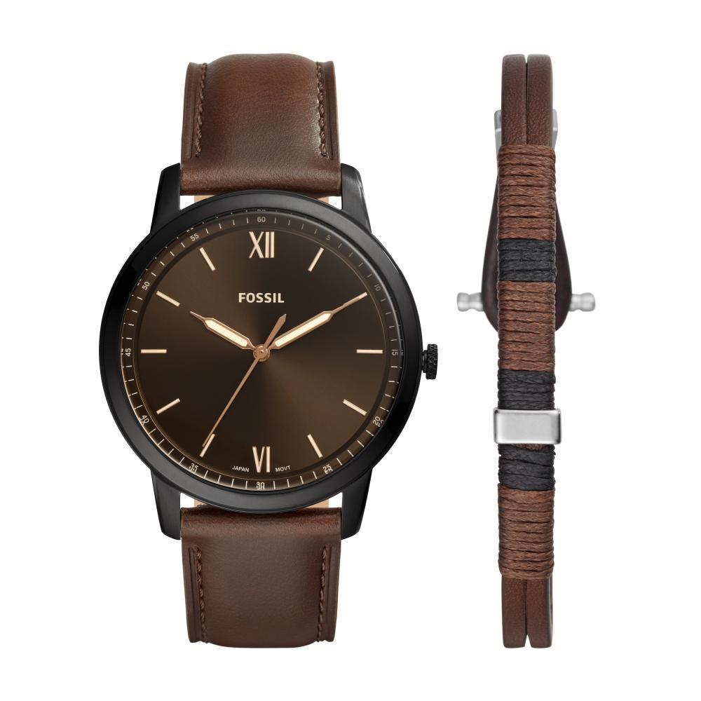 Relógio Masculino Fossil FS5557SET/0MN 44mm Couro Marrom