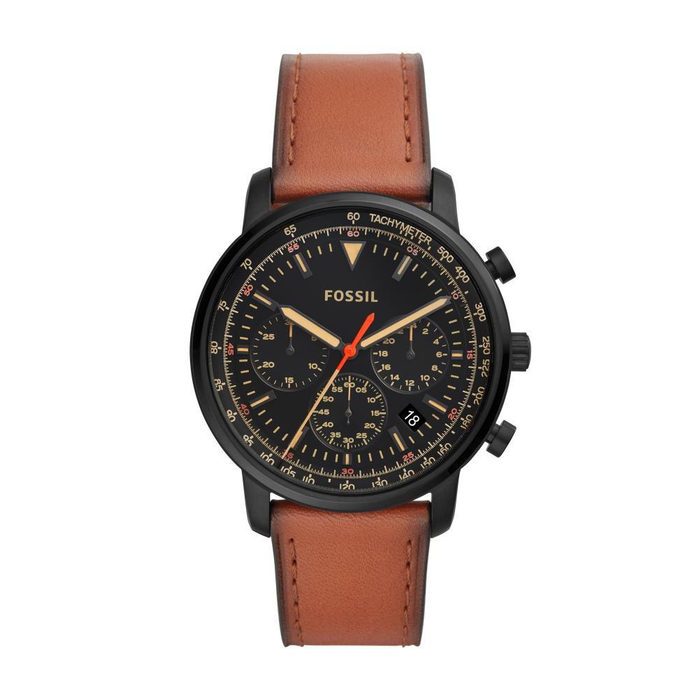 Relógio Masculino Fossil Goodwin FS5501/0PN 44mm Couro Marrom