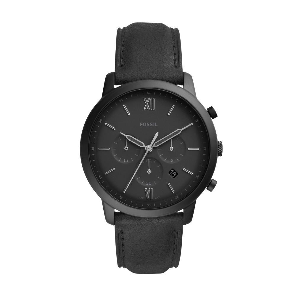 Relógio Masculino Fossil Neutra Chrono FS5503/0PN 44mm Couro Preto