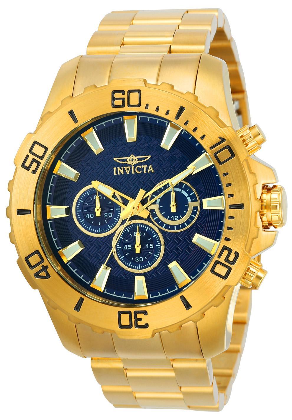 Relógio Masculino Invicta Pro Diver 22544 50mm Dourado (Cor interna da Caixa Azul)