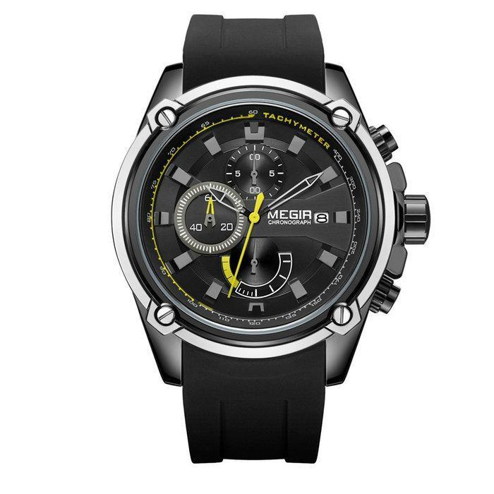 Relógio Masculino Megir MN2086G-BK-1 50mm Silicone Preto