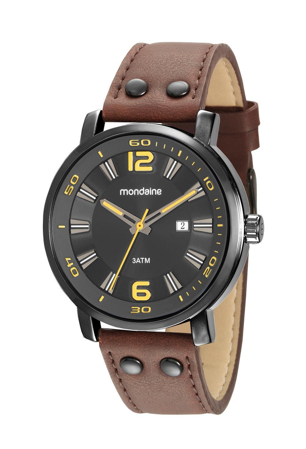 Relógio Masculino Mondaine 53591GPMVPH1 46mm Couro Marrom