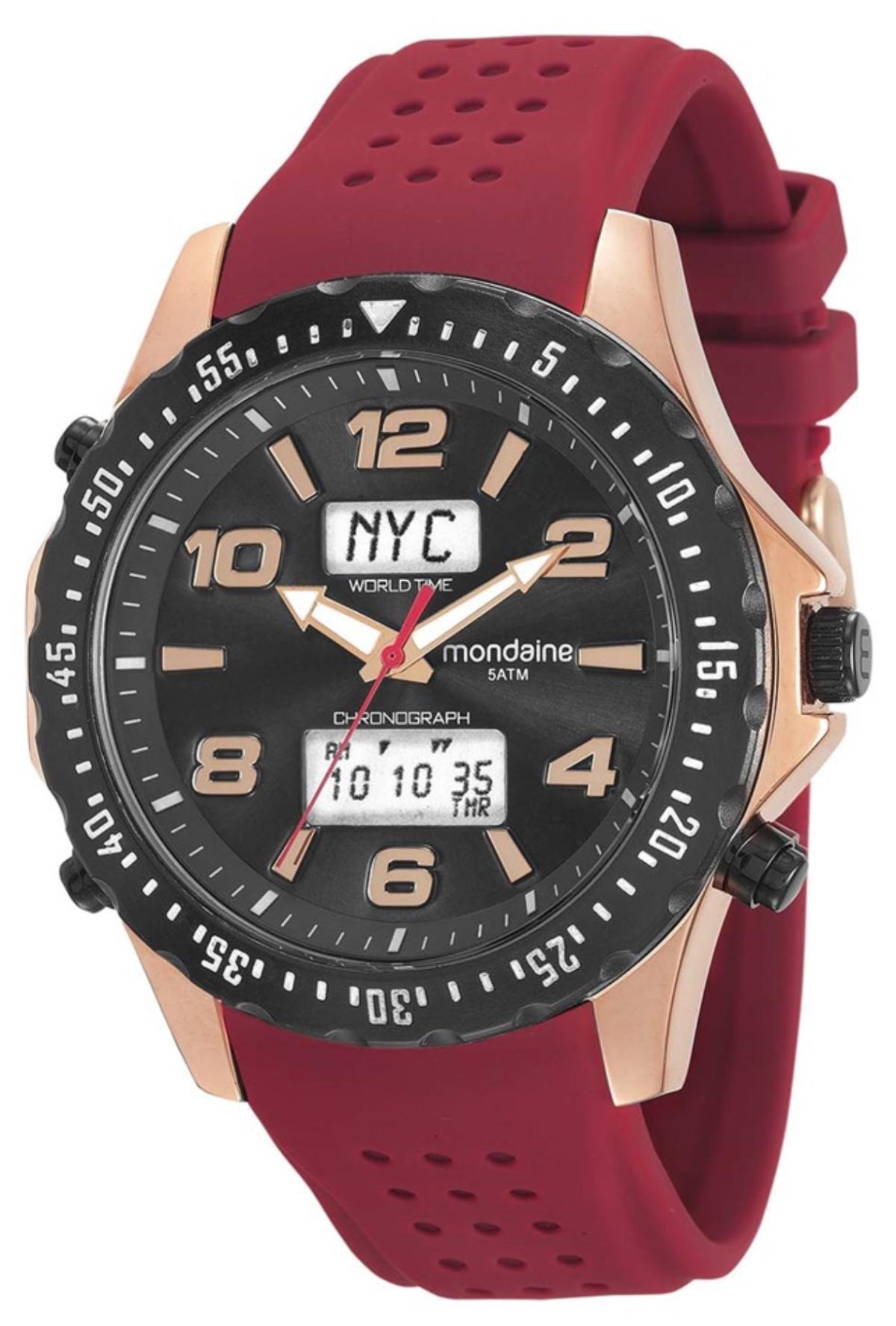Relógio Masculino Mondaine 53619GPMERI3 51mm Silicone Vermelho