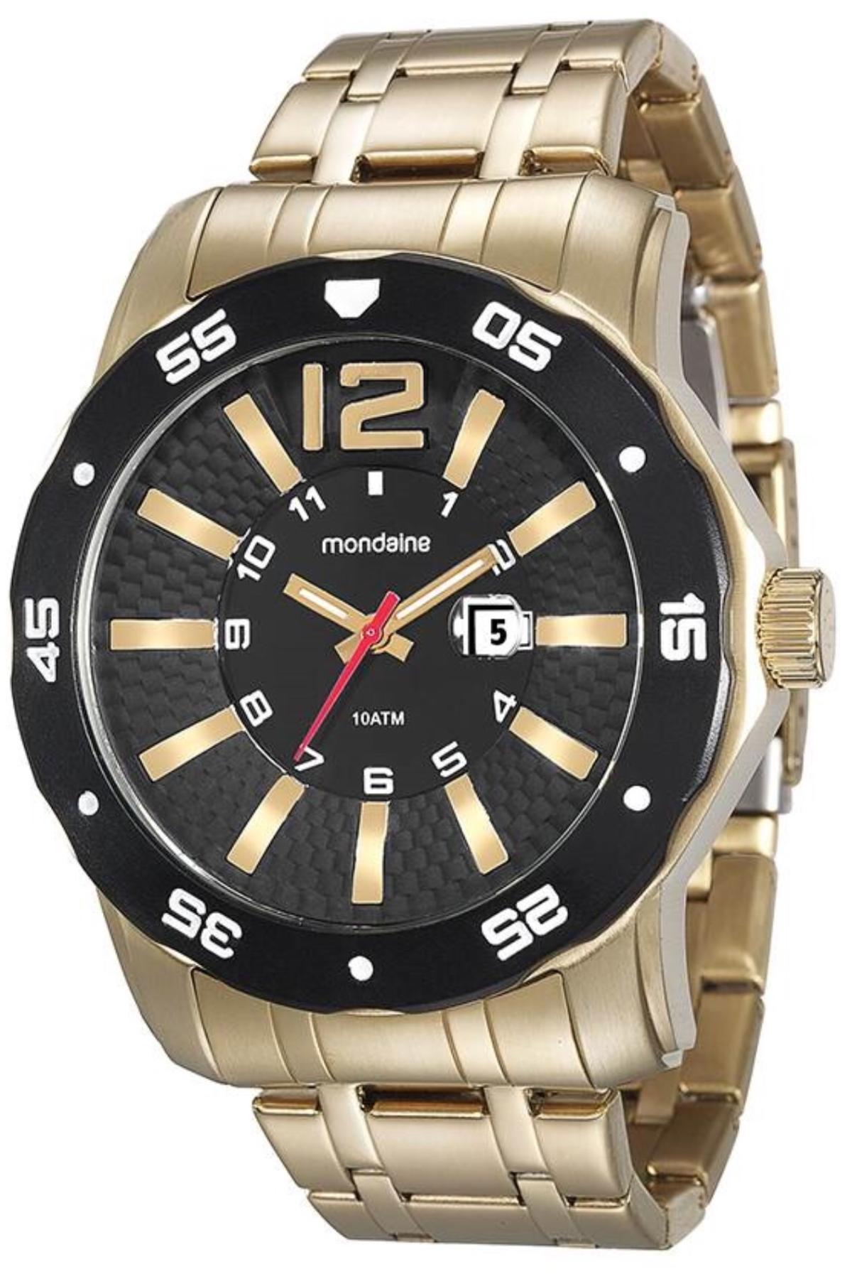 Relógio Masculino Mondaine 94851GPMVDA1 52mm Pulseira Aço Dourada