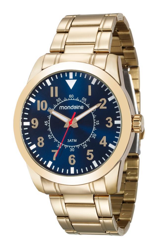 Relógio Masculino Mondaine 99138GPMVDE2 46mm Aço Dourado