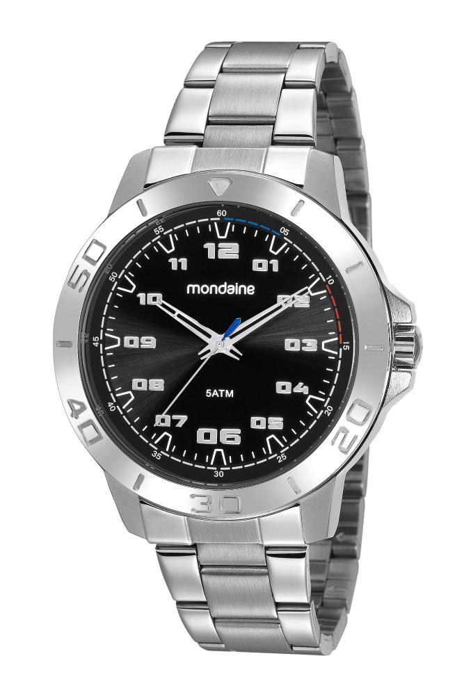 Relógio Masculino Mondaine 99468G0MVNE2K1 48mm Aço Prata + Kit Manicure