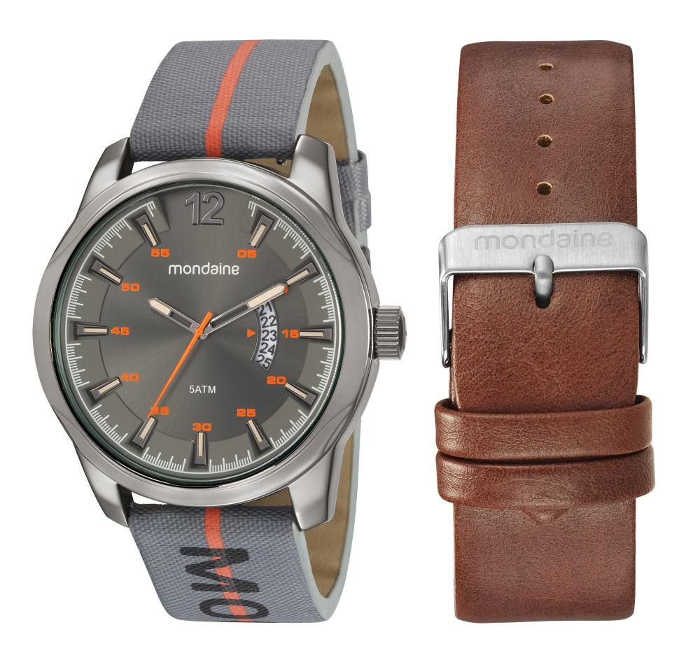 Relógio Masculino Mondaine 99476GPMVSH1 48mm Cinza Pulseira Adicional Couro Marrom