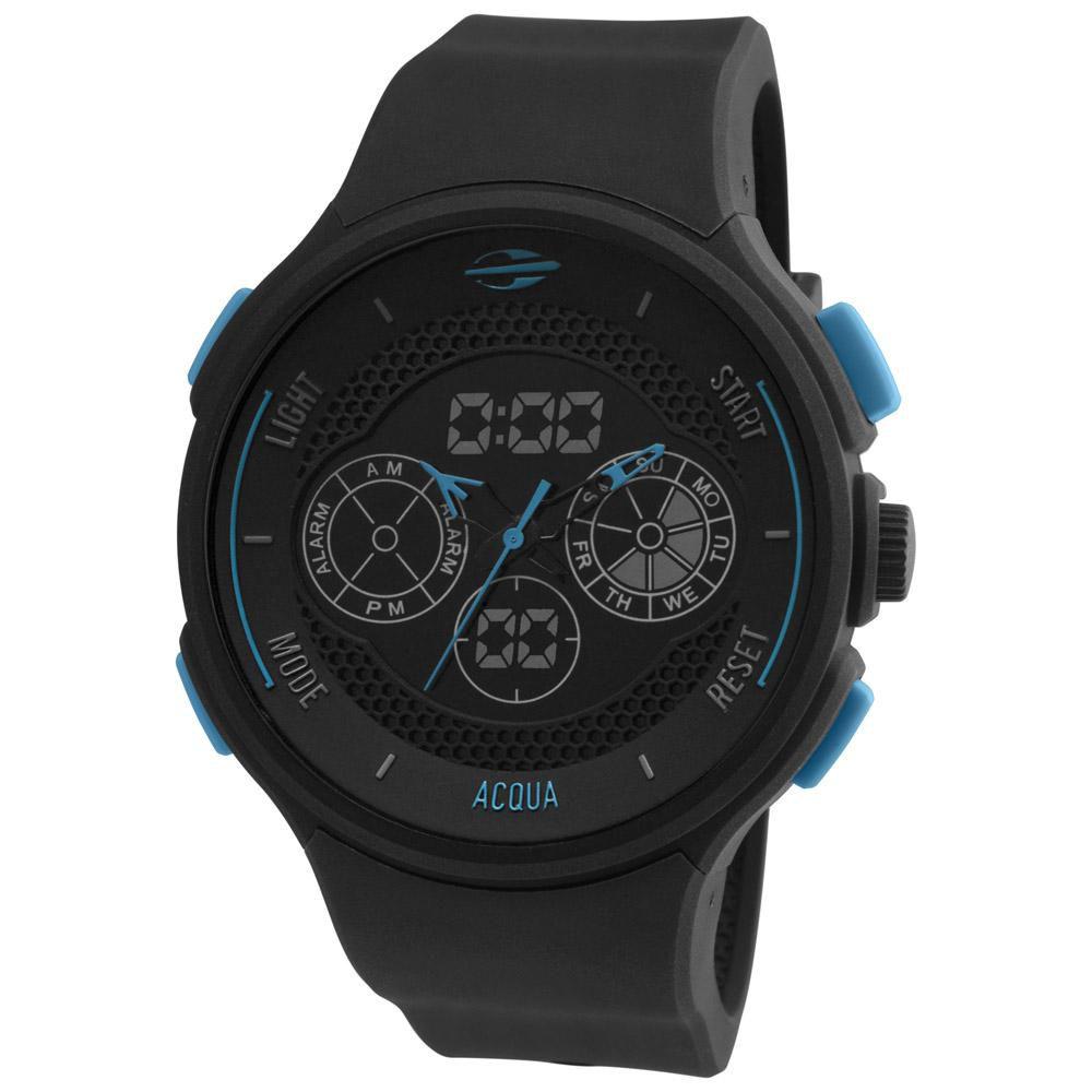 Relógio Masculino Mormaii Acqua MO160323AL/8A 47mm Preto Pulseira Silicone