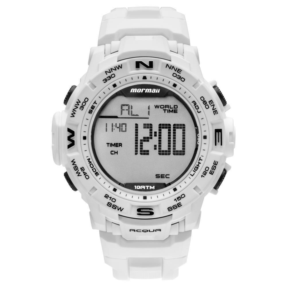 Relógio Masculino Mormaii Action MO1173E/8B 45mm Borracha Branco