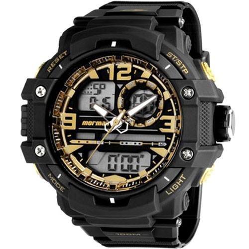 Relógio Masculino Mormaii MO0949/8U 50mm Preto e Dourado