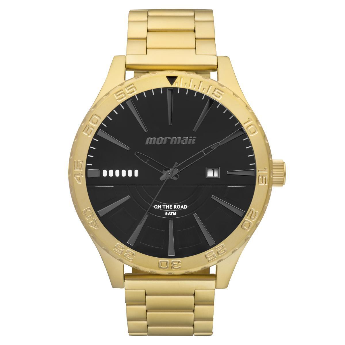 Relógio Masculino Mormaii MO2115AY/4P Pulseira Aço Dourada
