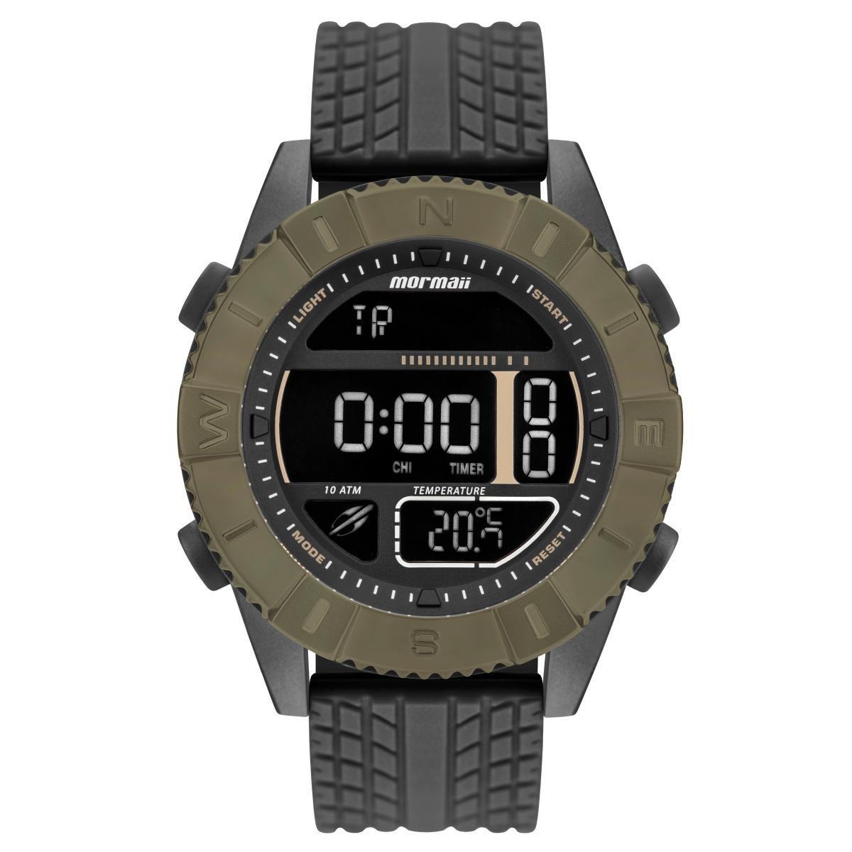 Relógio Masculino Mormaii MO5334AB/8V 51mm Silicone Preto