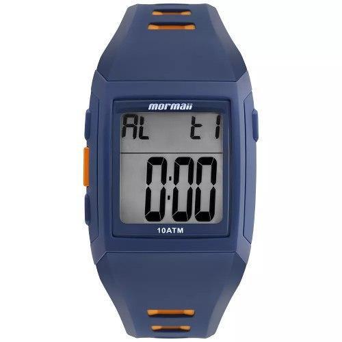 Relógio Masculino Mormaii MO967AB/8A 38mm Borracha Azul com Detalhe Alaranjado