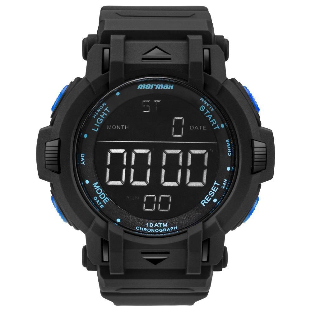 996c962d6a1 Relógio Masculino Mormaii MOM08111B 8A 56mm Digital Borracha Preto (Detalhe  Azul)