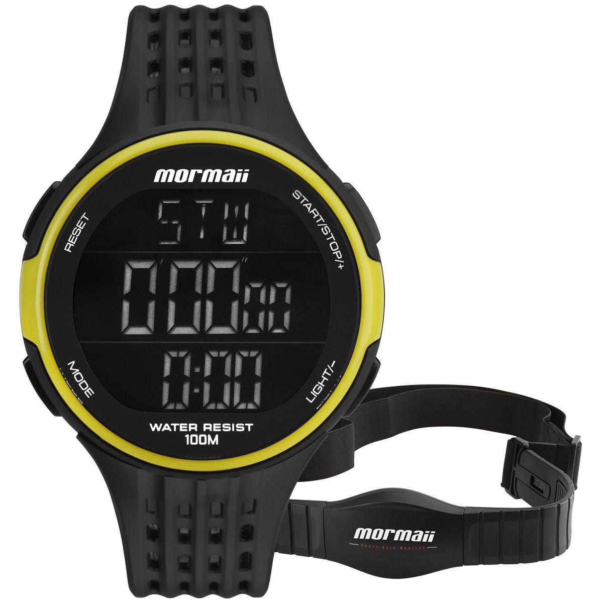 Relógio Masculino Mormaii Monitor Cardíaco MO11559AA/8V 47mm Borracha Preta