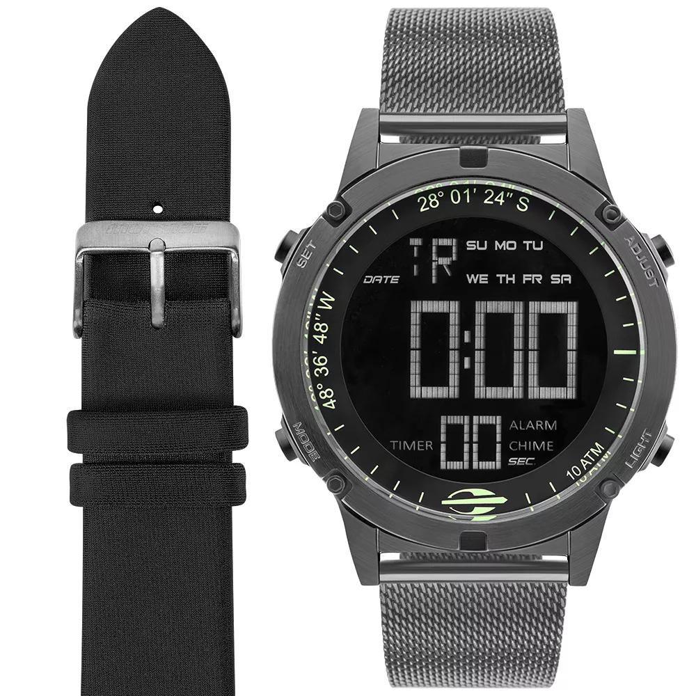 Relógio Masculino Mormaii MOW13901C/T4C 46mm Aço Grafite/Neopreme Preto