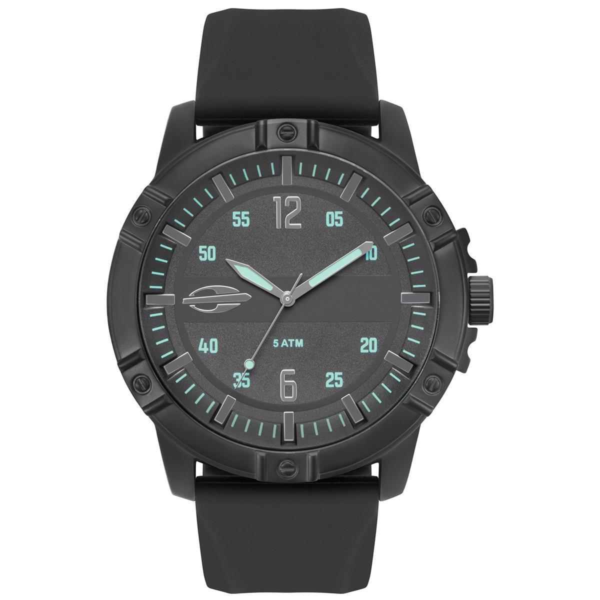 Relógio Masculino Mormaii Steel MO2036IQ/2P 50mm Silicone Preto