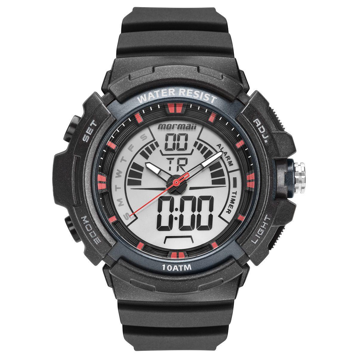 Relógio Masculino Mormaii Wave MO8902AA/8R 44mm Poliuretano Preto