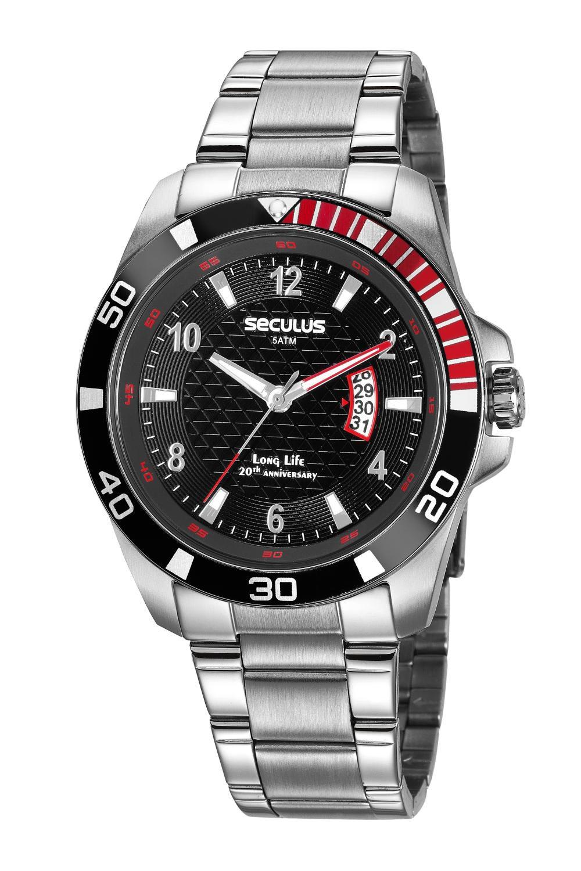 Relógio Masculino Seculus 20745G0SVNA1 46mm Aço Prata