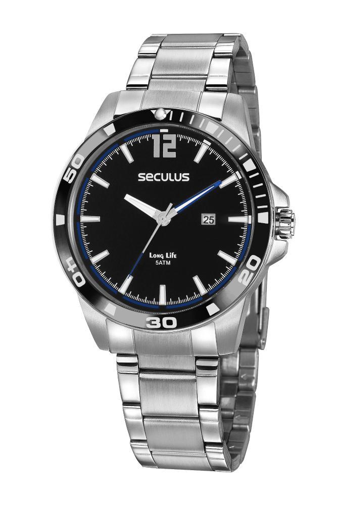 Relógio Masculino Seculus 20790G0SVNA3 45mm Aço Prata