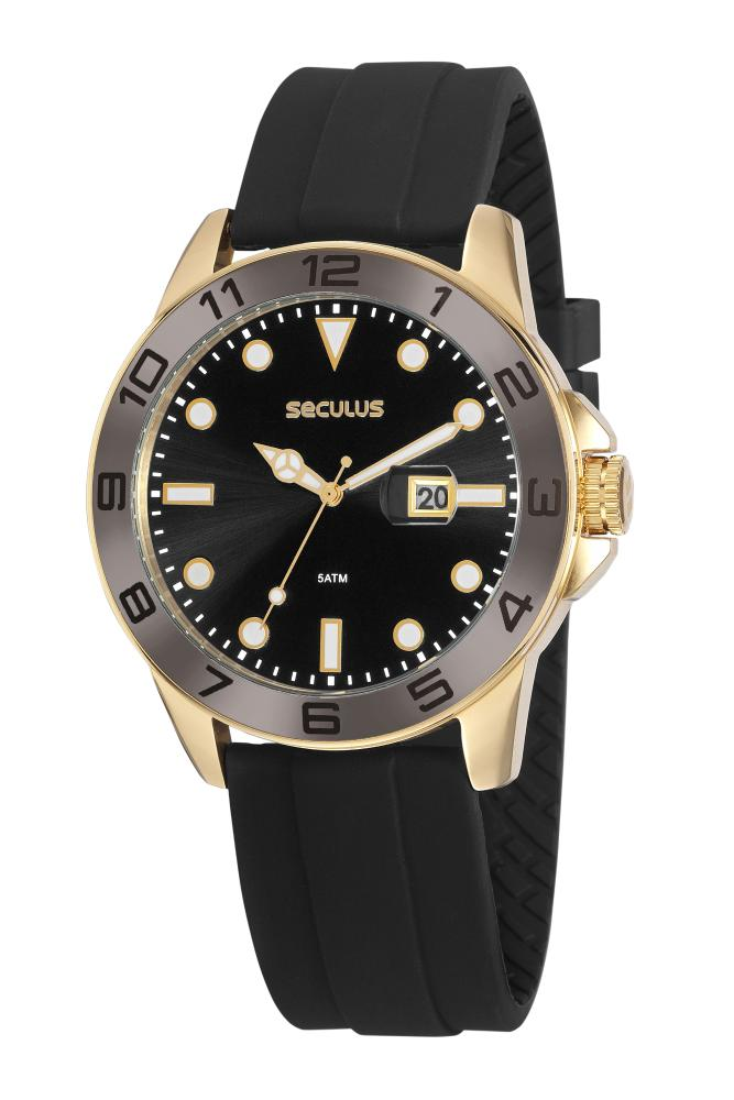 Relógio Masculino Seculus 20882GPSVDU1 48mm Silicone Preto
