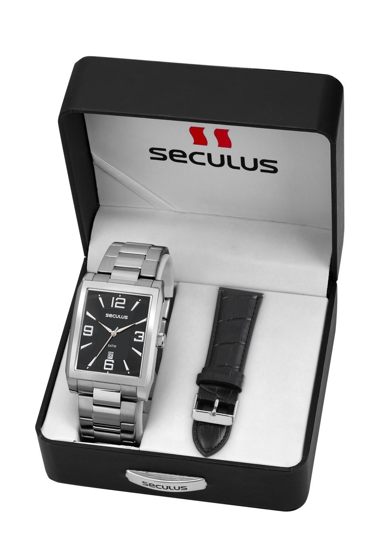 Relógio Masculino Seculus 23628G0SVNA1 38mm Aço Prata