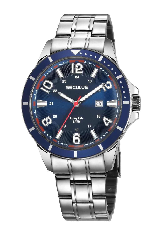 Relógio Masculino Seculus 28987G0SVNA2 46mm Aço Prata