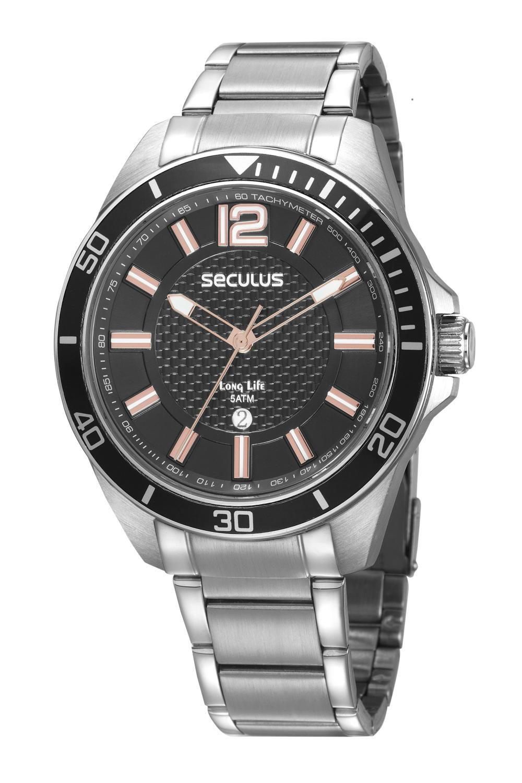 Relógio Masculino Seculus 77036G0SVNA3 48mm Aço Prata