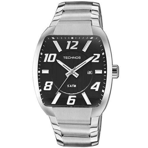 Relógio Masculino Technos 2115KLK/1P Pulseira Aço Prata