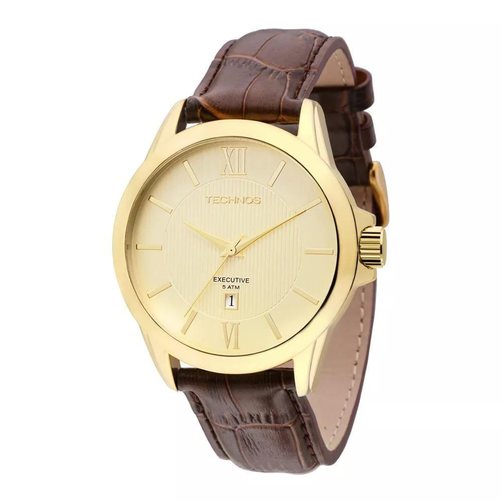 Relógio Masculino Technos 2115KNH/0X 45mm Couro Marrom